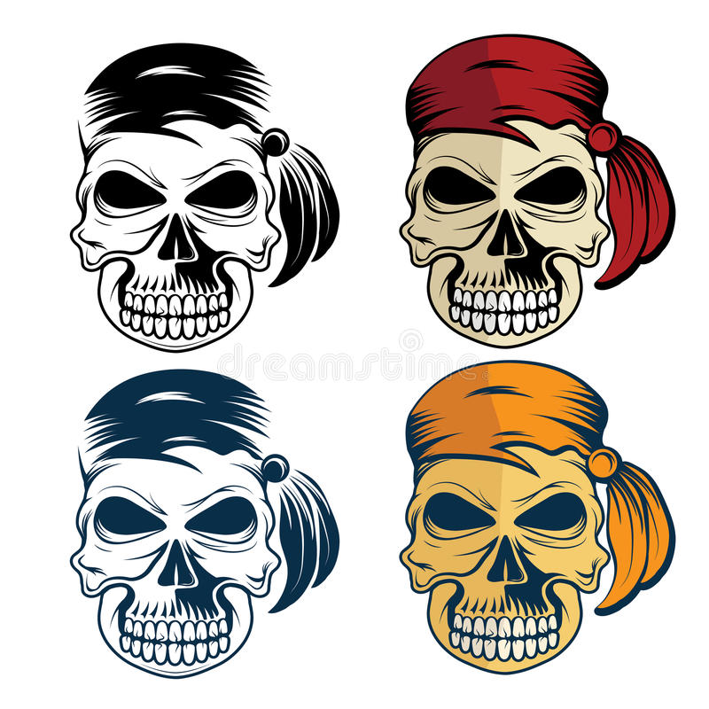 Male Face With Skull Cap Stock Vector. Illustration Of