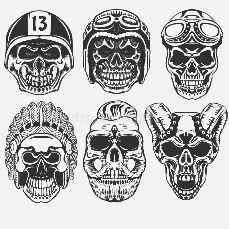 Skull set vector. Skull set, Dead Motorcycle rider in helmet. hipster skeleton. vector stock illustration