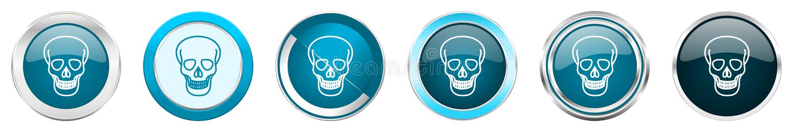 Skull silver metallic chrome border icons in 6 options, set of web blue round buttons isolated on white background vector illustration