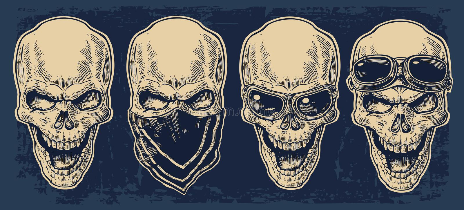 Skull smiling with bandana and glasses for motorcycle. royalty free illustration