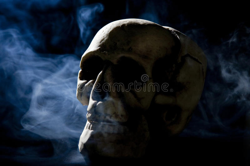 Skull with smoke royalty free stock photo