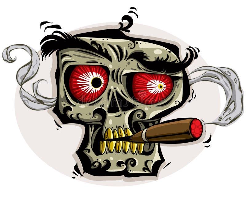 Skull smoking cigar. Skull with angry look, red eyes, yellow teeth and cigar. Vector illustration stock illustration