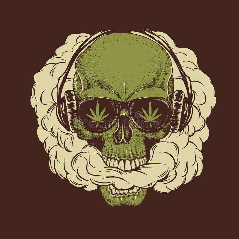Skull smoking a marijuana royalty free illustration