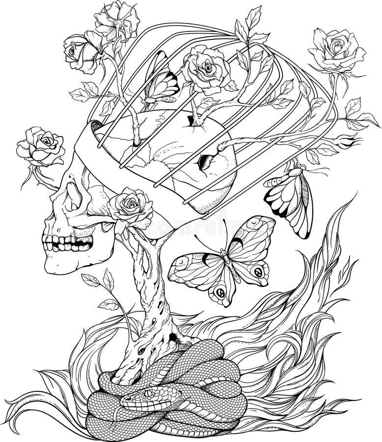 Skull, snake, butterflies and flowers stock illustration