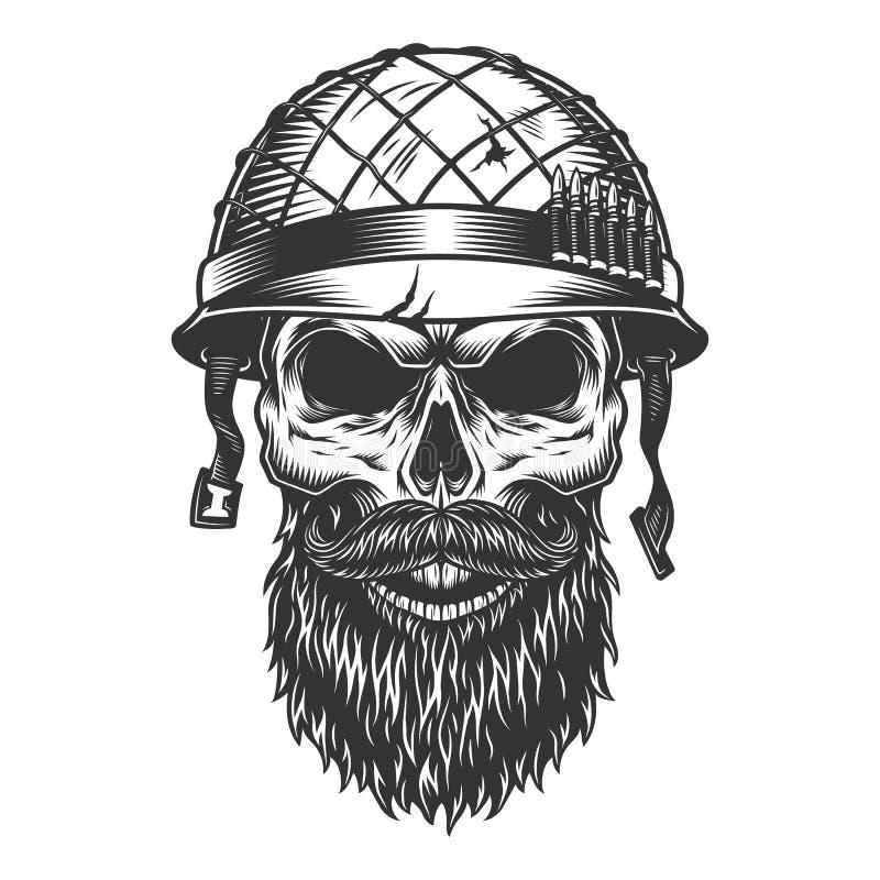 Skull in the soldier helmet stock illustration
