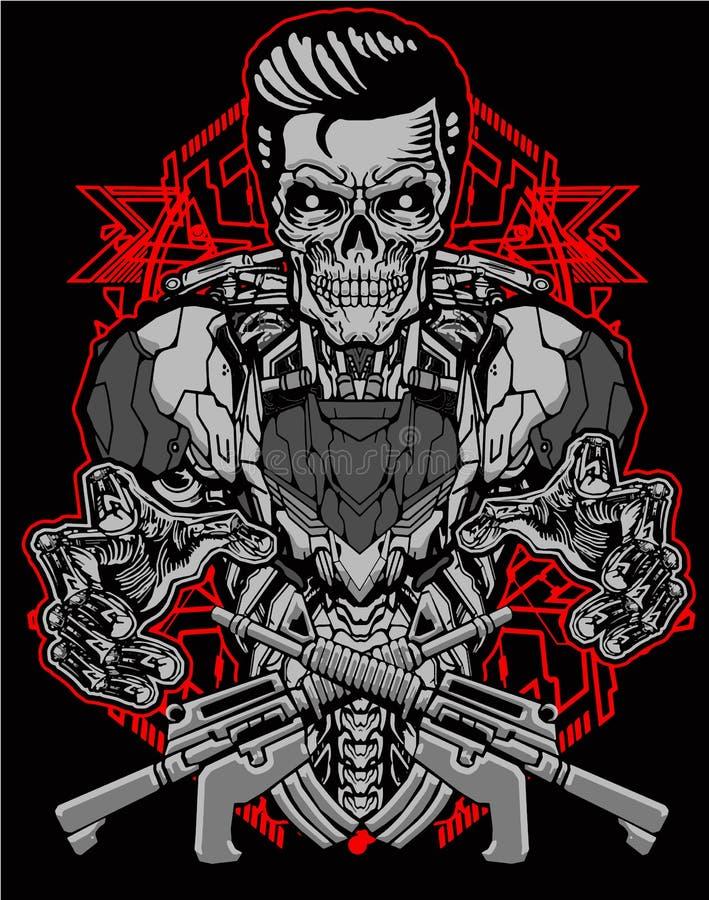 Skull soldier robot t-shirt design bundle set vector illustration