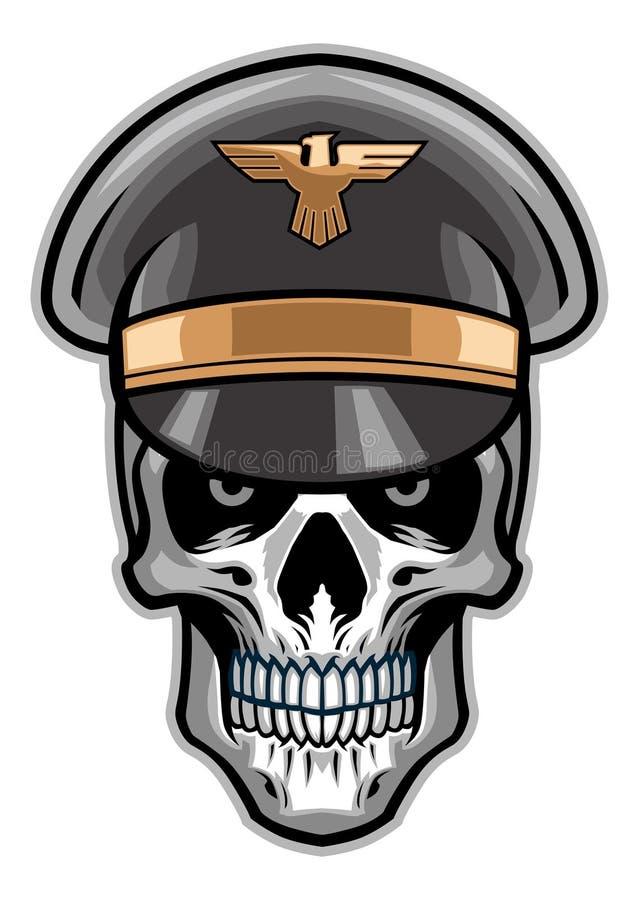 Skull soldier wearing hat vector illustration