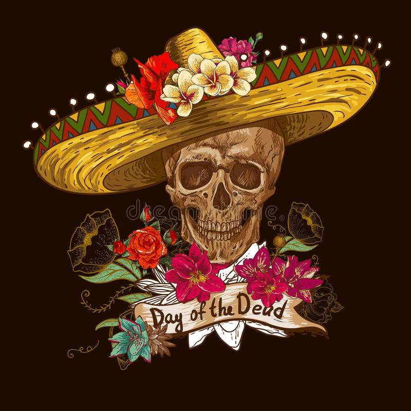 Skull in sombrero with flowers Day of The Dead royalty free stock images