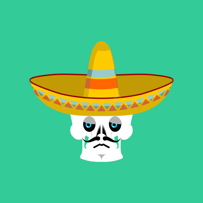 Skull in sombrero sad Emoji. Mexican skeleton for traditional fe stock illustration