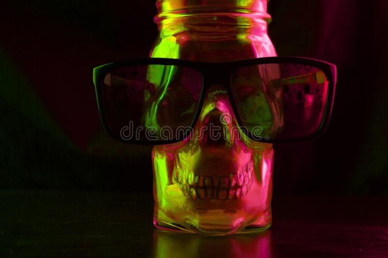 skull with sunglasses stock photography