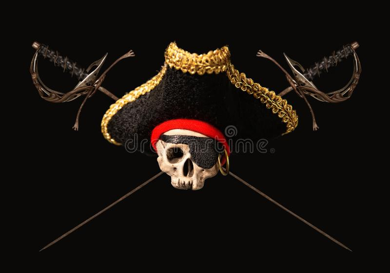 Skull and swords stock images