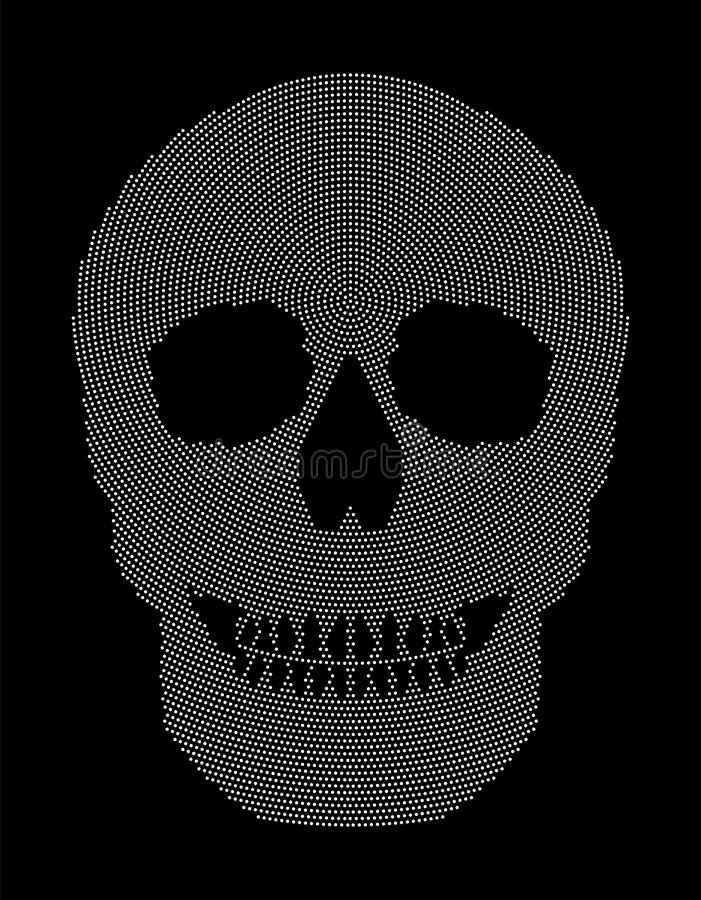 Skull symbol radial dot pattern. Skull radial dot pattern. Symbol of the bone structure of an head of a skeleton. Formed by white dots beginning from the place royalty free illustration