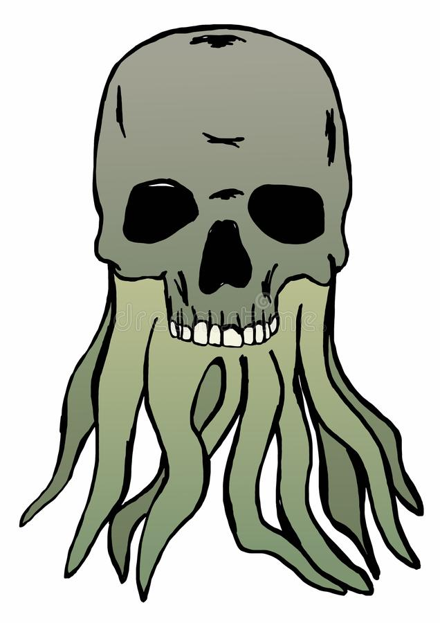 Skull with tentacles stock illustration