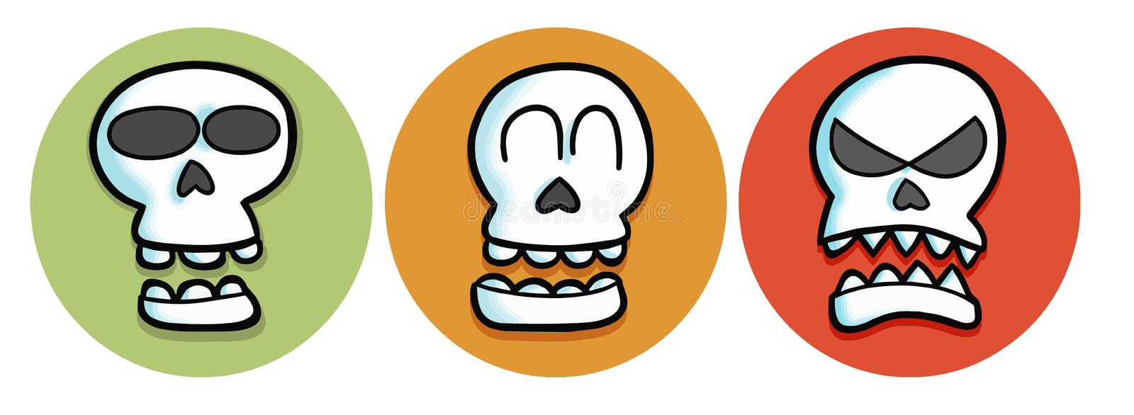 Skull with three color background & expression. stock photo