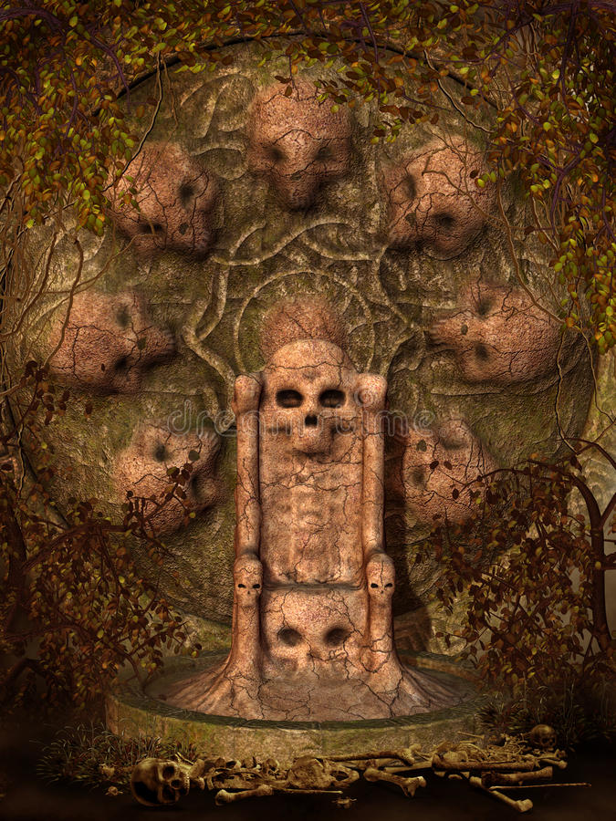 Skull throne with vines royalty free illustration