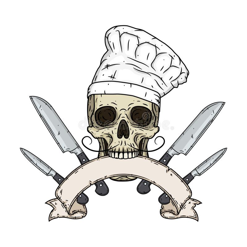 Skull in toque with cooking knifes and vintage scroll. Cartoon skull in hand drawn style. Skull in toque with cooking knifes and vintage scroll. Cartoon skull stock illustration