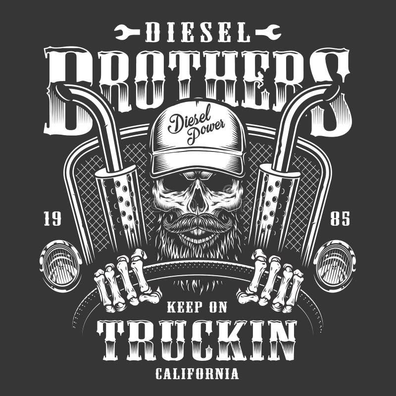 Skull trucker print stock illustration