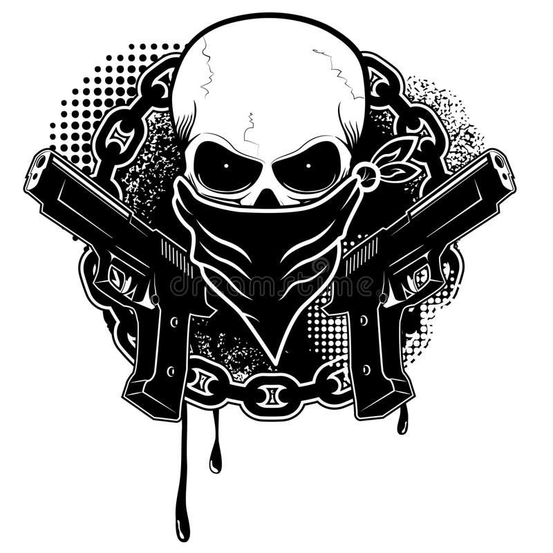 Skull and two pistols royalty free illustration