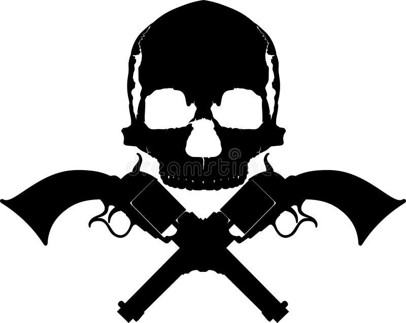 Skull two revolvers stock photography