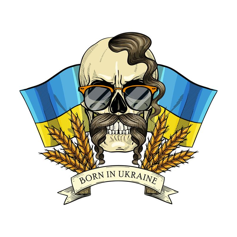 Skull with Ukrainian symbols. Hand drawn color sketch, skull with Ukrainian flag, mustaches, spikes of wheat, oseledets hairstyle, sunglasses. Poster, flyer royalty free illustration