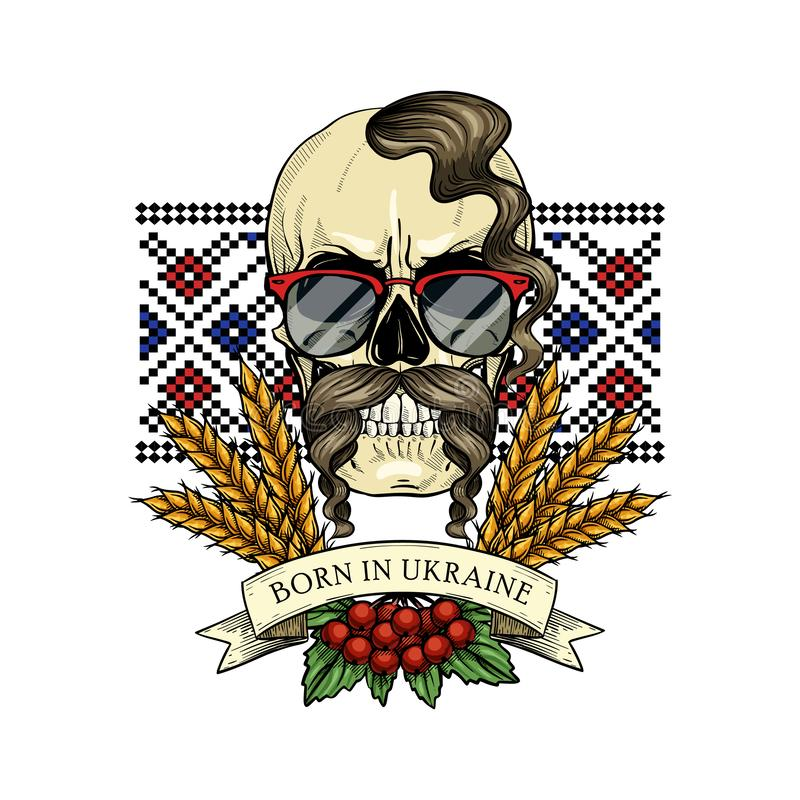 Skull with Ukrainian symbols. Hand drawn color sketch, skull with Ukrainian embroidery pattern, mustaches, spikes of wheat, branch of viburnum, sunglasses vector illustration
