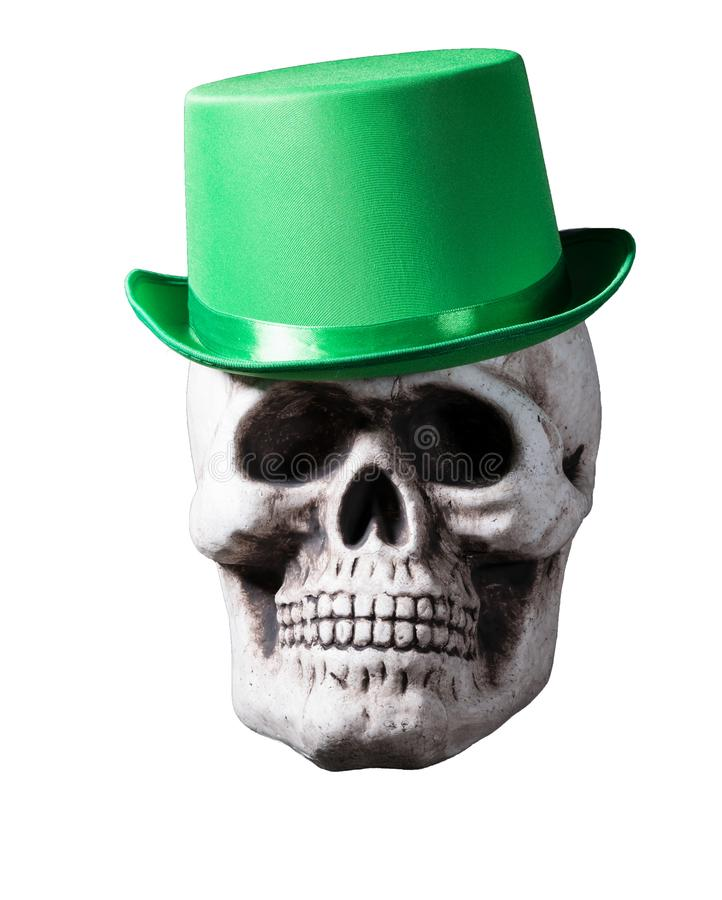 Isolated skull with green hat royalty free stock photography