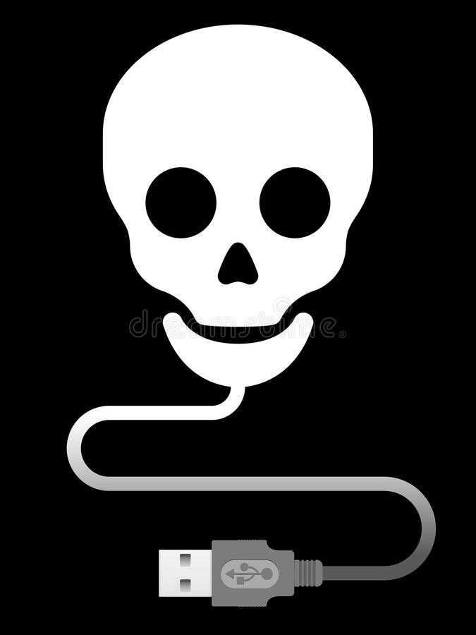 Skull with usb cable stock illustration