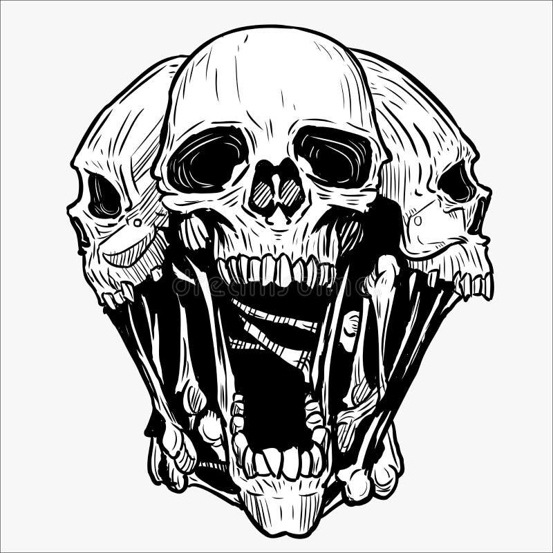 Skull vector illustration for various design needs. Skull vector for tattoo designs, t-shirt designs, logo designs, icon designs royalty free illustration