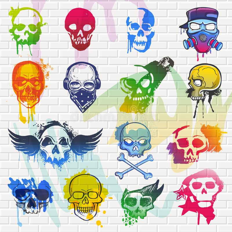 Skull vector mexican dead head and crossbones and human tattoo illustration thick-skulled set of horror symbol of death royalty free illustration