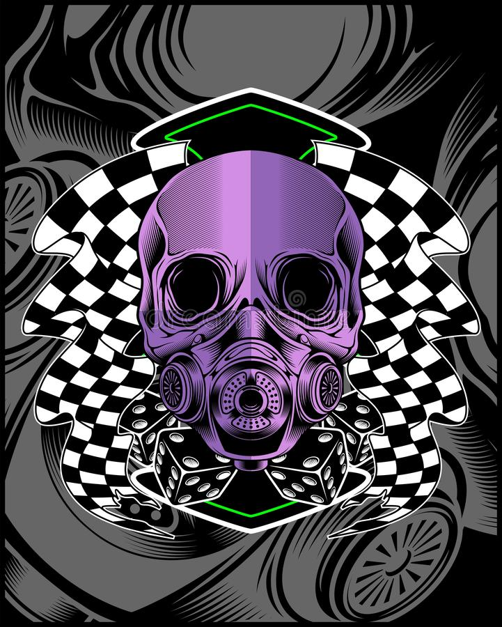 Skull violet with race flag vector hand drawing. Shirt designs, biker, disk jockey, gentleman, barber and many others. and easy to edit. Vector Illustration royalty free illustration
