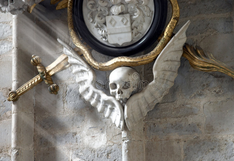 Skull on the wall stock image