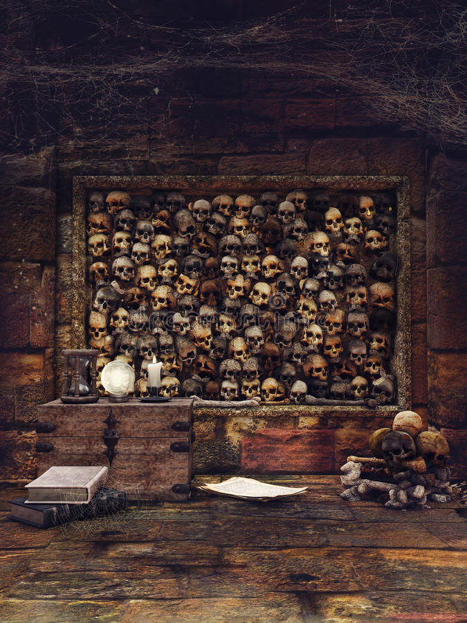 Skull wall and magic objects vector illustration