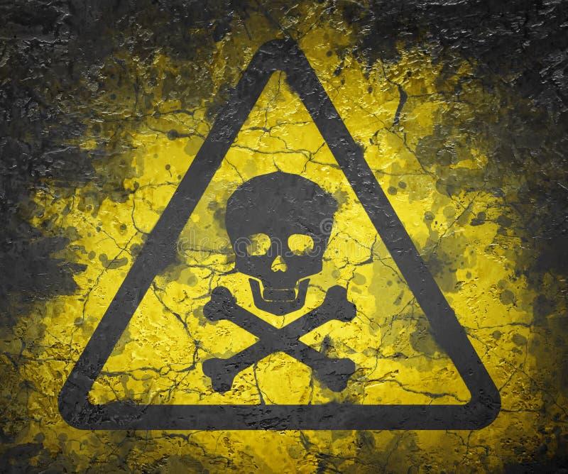Skull warning sign. Skull and bones warning sign stock illustration