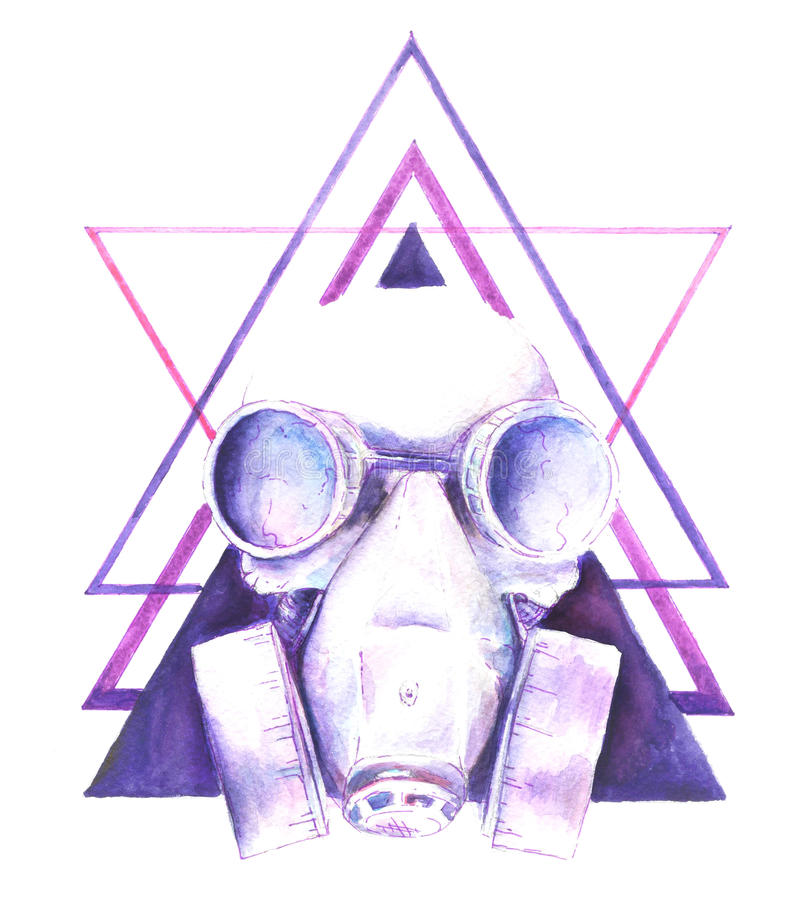 Skull watercolor illustration. Watercolor Steampunk skull gas mask with graphic elements triangle, shirt design vector illustration
