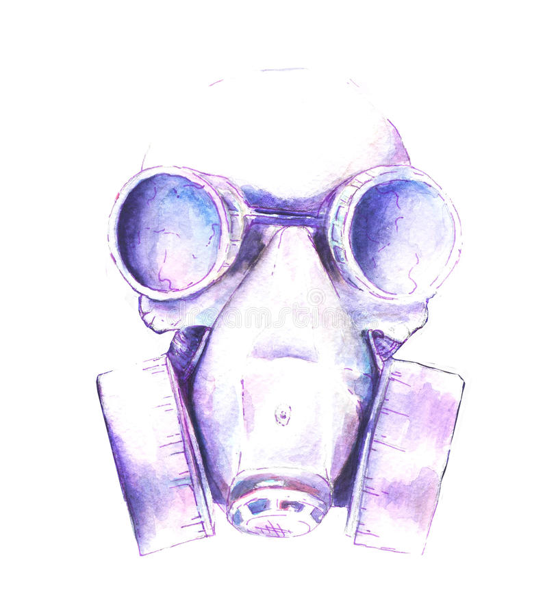 Skull watercolor illustration. Watercolor Steampunk skull gas mask with graphic elements triangle, shirt design royalty free illustration