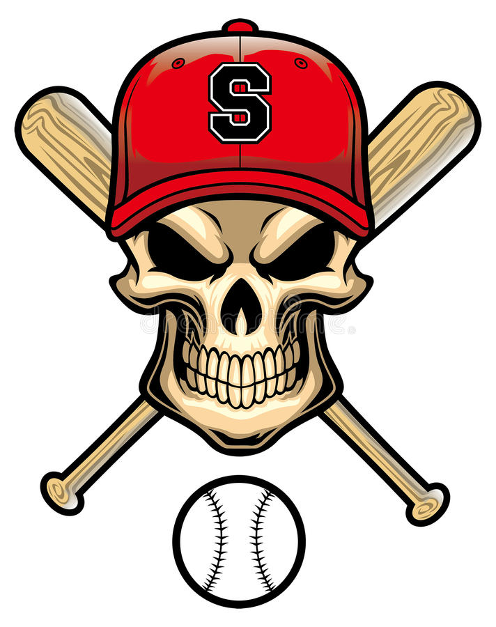 skull wear a baseball hat stock vector illustration of patch 46367719 rh dreamstime com Baseball Bat Vector Silhouette Baseball Bat Vector Silhouette