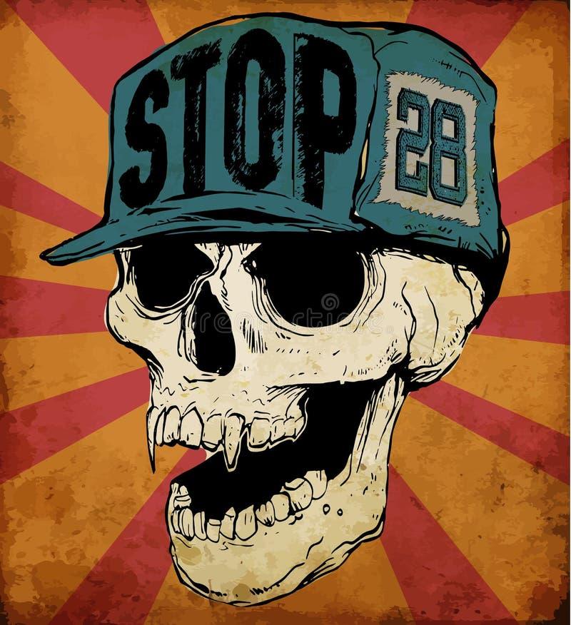 Skull Wearing Cap. Fashion style vector illustration
