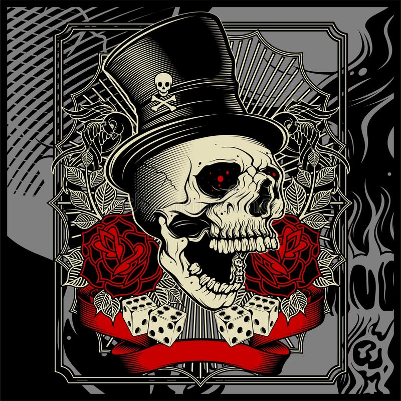 Skull wearing hat and dice rose decoration -vector stock image