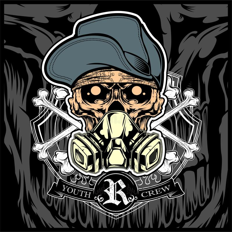 Skull wearing hat and gas mask vector royalty free stock photo
