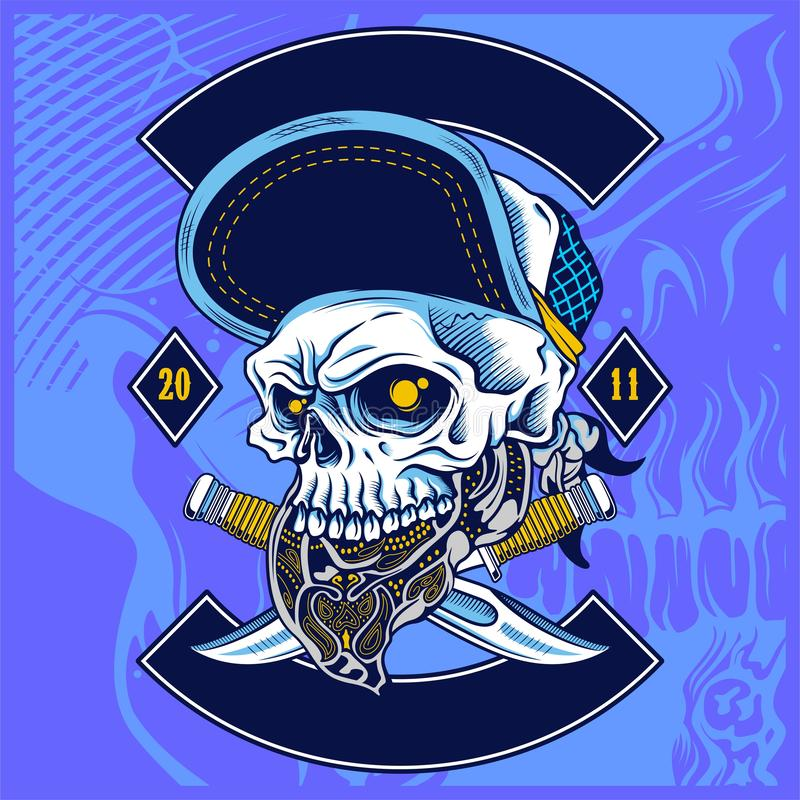 Skull wearing hat and dice rose decoration -vector royalty free illustration