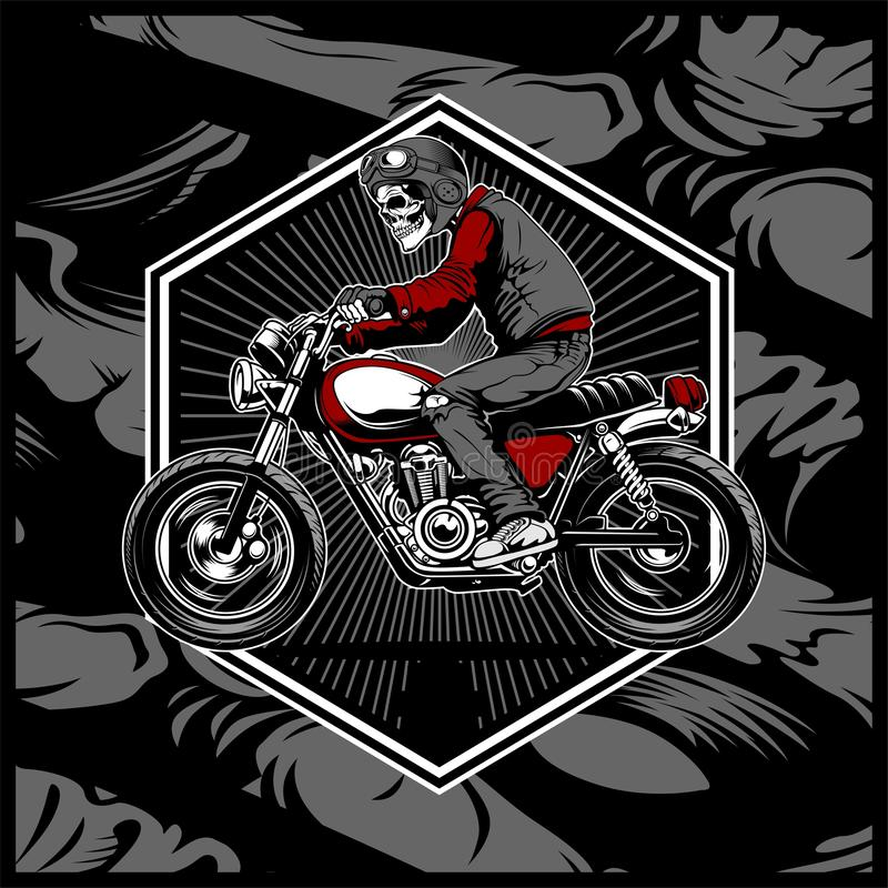 Skull wearing a helmet riding an old motorcycle,vector. Hand drawing,Shirt designs, biker, disk jockey, gentleman, barber and many others vector illustration