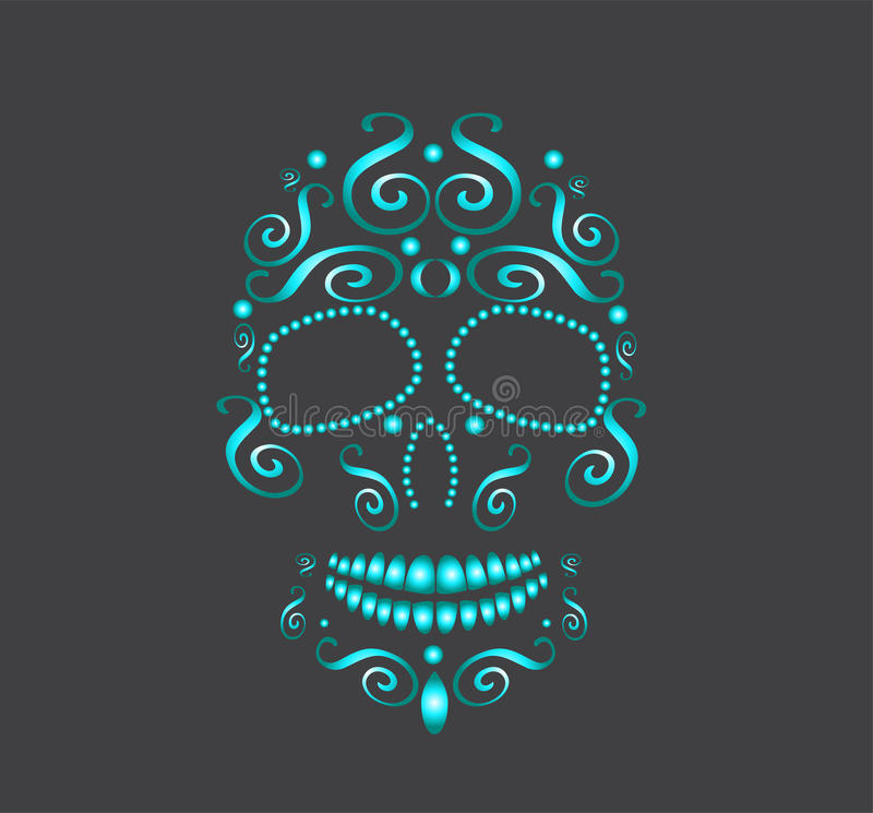 Skull white pearls for fashion design green stock photography