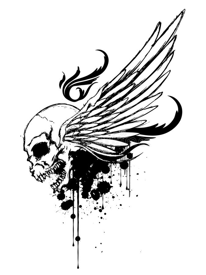 Download Skull with Wing stock illustration. Illustration of shirt - 12111234