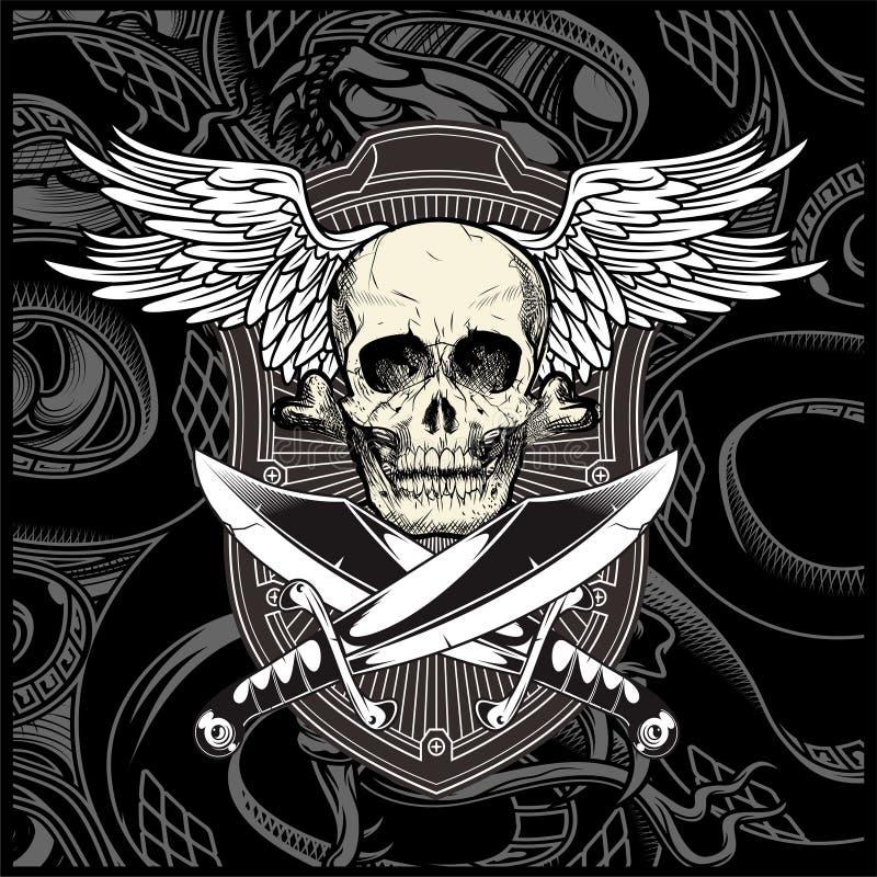 Skull wing with sword vector stock illustration