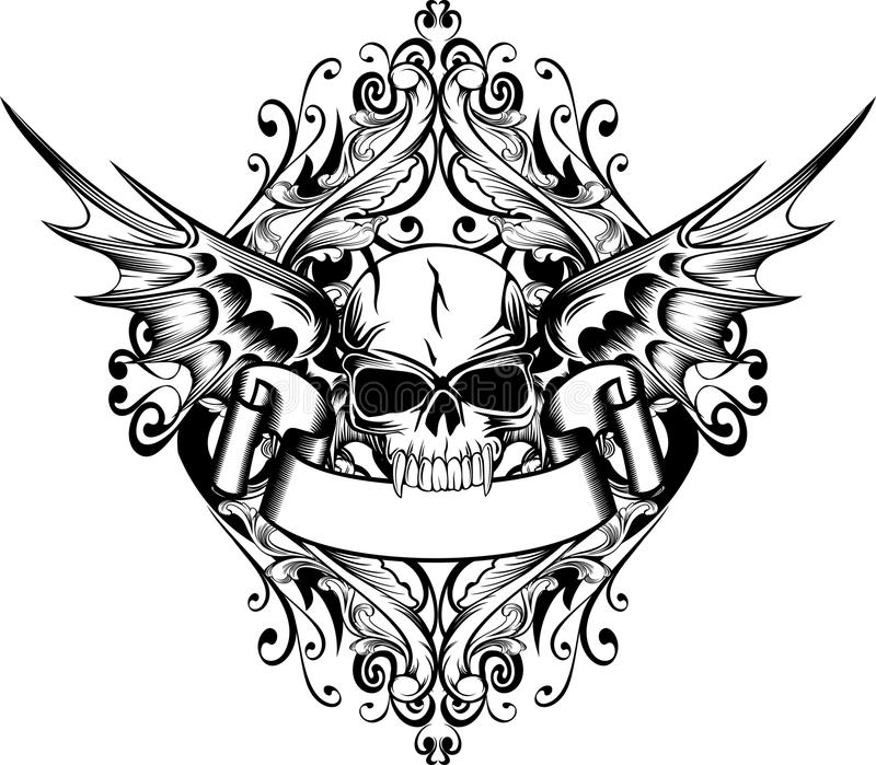 Skull with wings royalty free illustration