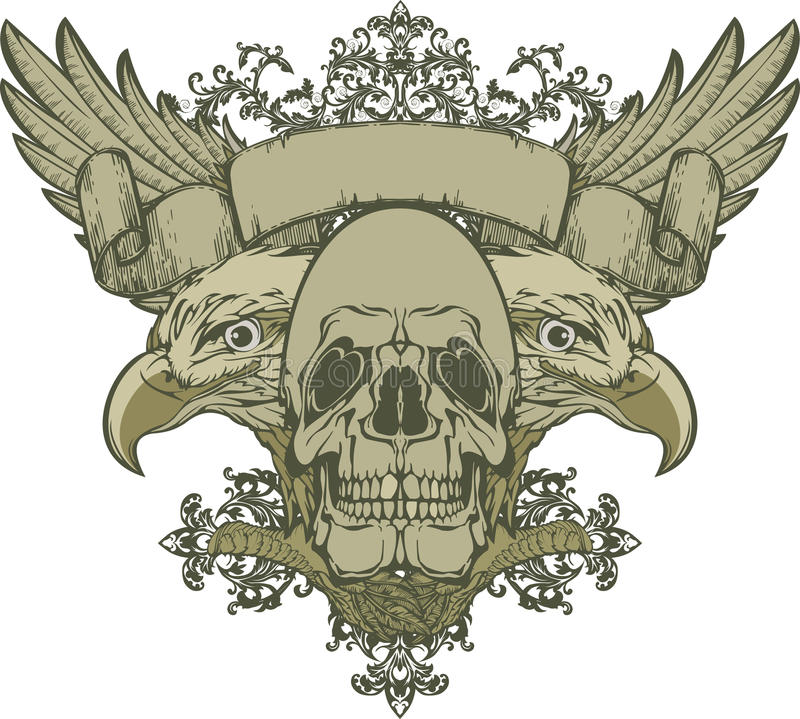 Skull with wings and double-headed eagle, hand-dra royalty free illustration
