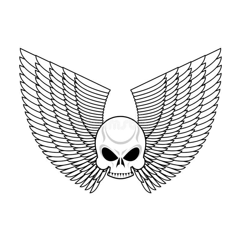 Skull With Wings Emblem Flying Skeleton Head Logo Stock Vector