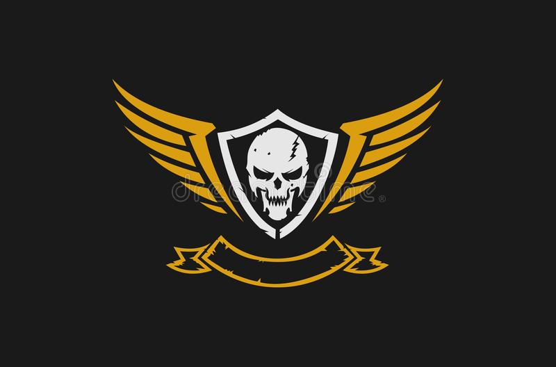 Skull and wings logo royalty free illustration