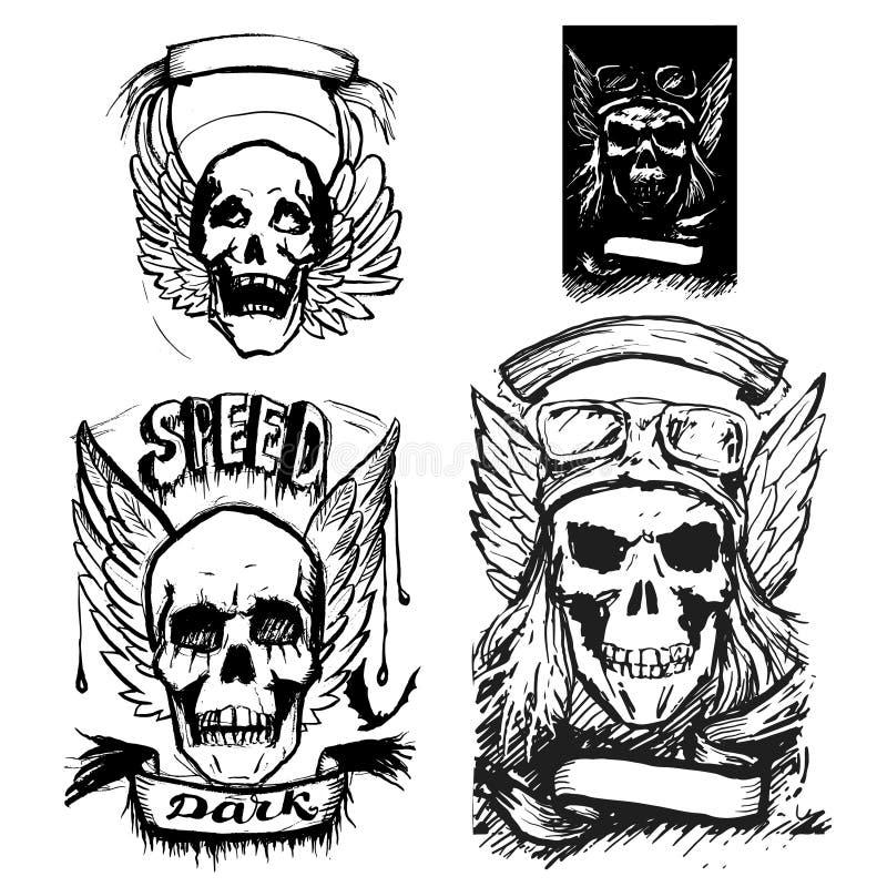 skull wings vector vintage icon vector illustration