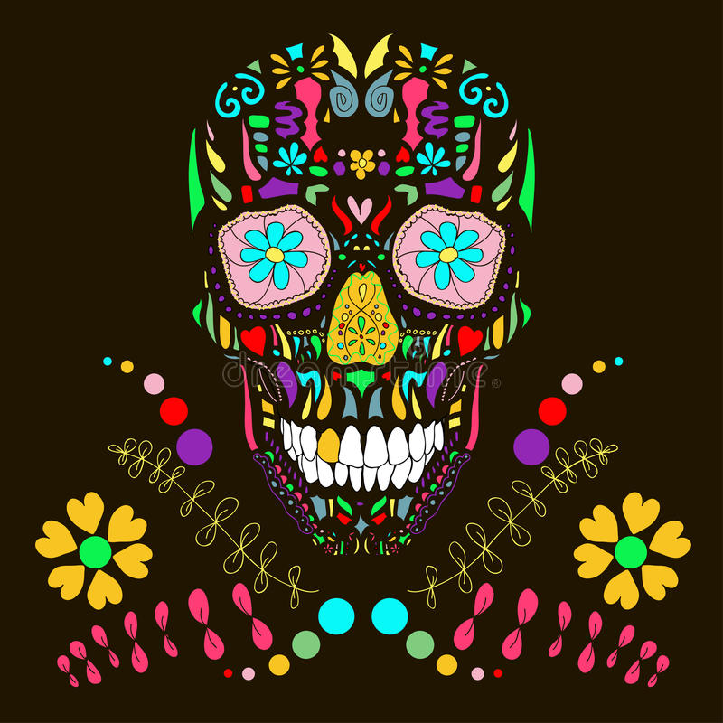 Free Skull With Floral Ornament 1.Vector Illustration. Stock Images - 32601214